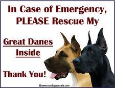 GREAT DANE (PLURAL) - In Emergency Rescue my GREAT DANES Inside - Window Cling