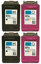 4 PK (Black/Color) Ink Combo for HP 61XL Envy 4500 4502 Officejet 2620 4630