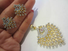 22ct GOLD PLATED AMERICAN DIAMOND & RUBY PEACOCK PENDANT/EARRINGS SET, BNEW