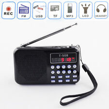 Universal Portable Digital LED Light Stereo FM Radio MP3 Music Player Speaker BL