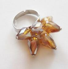 VINTAGE 80'S SILVER TONE AMBER FACETED GLASS CRYSTAL CLUSTER BEAD COCKTAIL RING