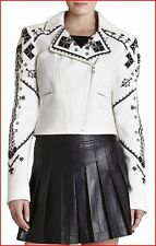 BCBG MAXAZRIA KADE OFF WHITE BLACK EMBROIDERED JACKET size XS NWT $428-RackF/49