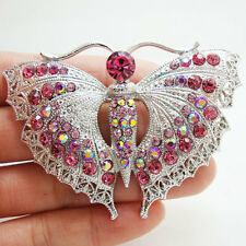 Fashion Pretty Pink Butterfly Insect Brooch Pin Rhinestone Crystal
