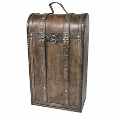 TWIN bottiglia di vino Storage Case Box Regalo Vintage in legno CRATE CARRIER
