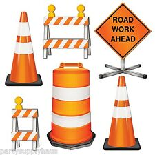 Under Construction ROAD street CREW Die-cut CUTOUTS Party Decoration HARD HAT
