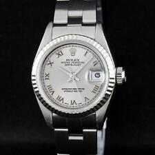Rolex SS Silver Roman With Square Track Oyster Band DateJust Ladies W... Lot 446
