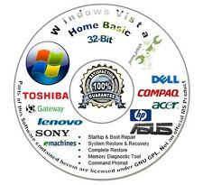 Windows Vista Home Basic 32 Bit Disc Reinstall Install Recovery Repair DVD W/HD