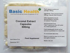 Pure Coconut Extract 30 x 500mg Capsules Thyroid Health Energy IBS Psoriasis