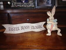 Primitive Easter Bunny Crossing Wired Burlap Ribbon Banner Ornament Garland New