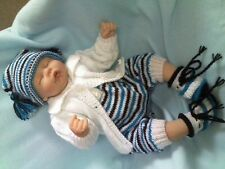 "KNITTING PATTERN 4 PIECE ROMPERS SET BABY 0-3 MTHS REBORN DOLL 19-21"" No 39"