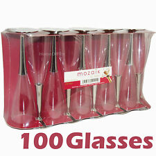 100 Quality Plastic Mozaik 10cl Wine / Champagne Glasses Ideal Party Etc Flute