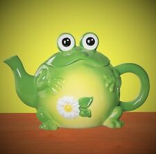Whimsical Toad Frog Shape Ceramic Teapot Hand-Painted Collectible Kitchen Decor
