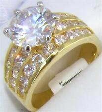18K GOLD 4.0CT SIMULATED DIAMOND WEDDING RING sz 10 or T 1/2