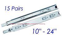 """15 Pairs 10""""-24"""" Full Extension 100-lb Ball Bearing Drawer Slides SL02 Slider"""