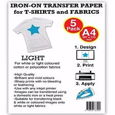 T Shirt Transfer Paper Iron On A4 for Light Fabrics for Inkjet Printers 5 Sheets