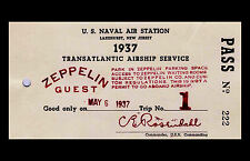 Framed Print - Transatlantic Airship Service Zeppelin Guest Pass 1937 (Picture)