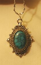 Handsome Fluted Silvertone Bead Rimmed Natural Turquoise Oval Pendant Necklace