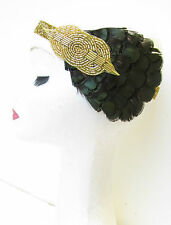 Dark Green & Gold Feather Headband Vintage 1920s Headpiece Flapper Headdress V11