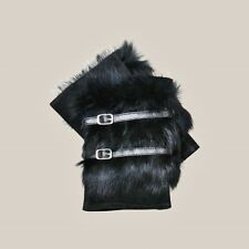 JENDI Ladies Girls S BLACK Leather Suede Fur Winter Fingerless Gloves w Buckle