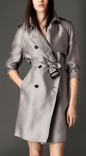 NWT $1400 BURBERRY BRIT SILK GREY DILLINGFORD TRENCH DRESS COAT US10 UK12 Jacket