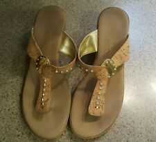 ONEX SUN GOLD SANDAL WOMENS SIZE 8 M New $101 CORK RHINESTONE GOLD EMBELLISHED
