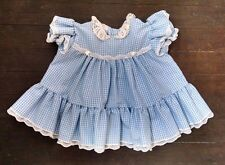 Vtg Bryan Baby Girl Doll Party Dress 3-6M Blue Gingham Plaid Crocheted Lace