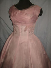 vtg 1950s PARTY PROM Full Circle Skirt Pleated bust Bow PINK Dress RARE sz S M