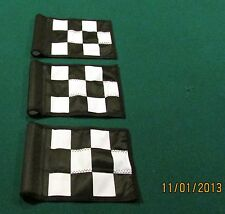 "PUTTING GREEN FLAGS -  SET OF 3 BLACK & WHITE CHECKERED - SIZE 6""X8"""