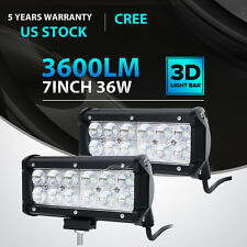 2x 7INCH 36W CREE LED WORK LIGHT BAR FLOOD OFFROAD ATV FOG TRUCK LAMP 4WD 12V 6""