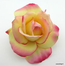 """4"""" Yellow Fuchsia Real Touch Rose,Poly Silk Flower Hair Clip,PinUp,Updo"""