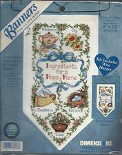 HAPPY HOME INGREDIENTS ~ COUNTED CROSS STITCH BANNER KIT - DIMENSIONS