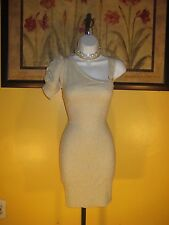 NWT  Arden B. One Shoulder Metallic Gold Rouched Dress Size S