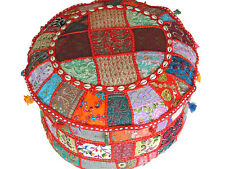 Indian Pouf Ottoman – Multicolor Patchwork Big Round Fabric Hassock Cover