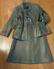 ~TERRY LEWIS WOMENS LEATHER JACKET WITH LEATHER SKIRT GREEN BLAZER OUTFIT SIZE L