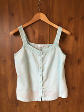 M&S CAMISOLE TOP Pastel Light Green Linen Vest UK 12 / EUR 40 - VGC