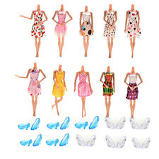 10 Pcs Dresses +10 Pairs Blue White Crystal Shoes for Barbies Dolls RW