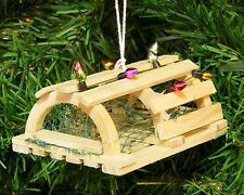 HANDCRAFTED WOOD LOBSTER TRAP w/XMAS LIGHTS COASTAL NAUTICAL CHRISTMAS ORNAMENT