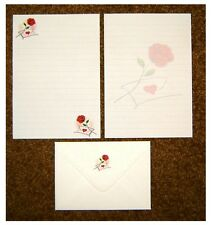 Valentine's Day Love Letter and Red Rose Writing Paper Stationery Set