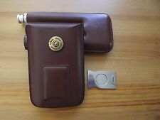 3 Finger Brown Leather Cigar Case Stainless Steel Cutter Flask Shotgun Shell