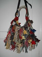 Charmes multicolor Leather Fringe Shoulder Handbag Hobo Women gold red black
