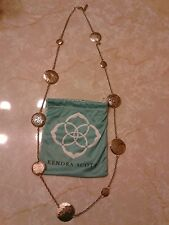 Kendra Scott Gold Filigree Coin Vintage Long Necklace Rare HTF