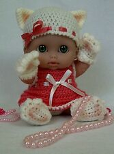 "8""-8.5"" Berenguer Lil' doll outfit crochet PATTERN- Lucky Cat Kitty"
