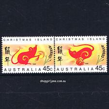 1996 Australia Christmas Island Lunar New Year of the Rat - se-tenant pair - MNH