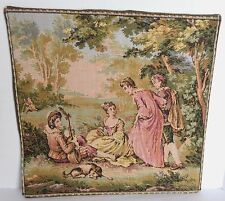 "Gobelin Belgium Tapestry 9 1/2"" Square Lined Wall Decor Mat Romantic Pastoral"