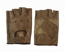 Mens Genuine Brown Leather Retro Motorcycle Padded Fingerless Driving Gloves 2XL