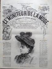 LE MONITEUR DE LA MODE 1891 N 41 CHAPEAU HEMINE. DESSIN DE J. ROCAULT