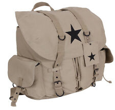 khaki large canvas pack backpack vintage weekender black star rothco 99158