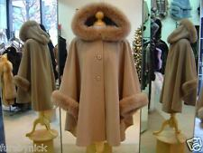 Camel Cashmere Hooded Jacket With Fox Fur Trim - Beautifully Canadian