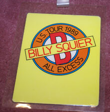 BILLY SQUIER 1989 UNUSED LAMINATED BACKSTAGE PASS SUPPORT ACT ALL ACCESS RARE!!!