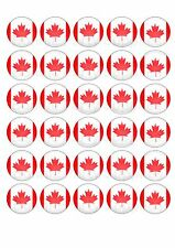 30 Canadian Flag Edible WaferPaper Cupcake Cup Cake Decoration Topper Image